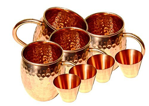 STREET CRAFT Set of-4, 100% Pure Solid Copper Moscow Mule Mugs /Hammered Moscow Mule Mug /Cup, Capacity-18 Ounce,4-Smooth Copper Shot Glasses Capacity-2 Ounce. by STREET CRAFT Smooth Shot Glas