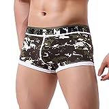 BURFLY Herren unterwäsche, Männer Patchwork Unterwäsche bequeme schweißabsorbierende Print Boxer Briefs Shorts Bulge Pouch Unterhose (XL, Armee-Grün)