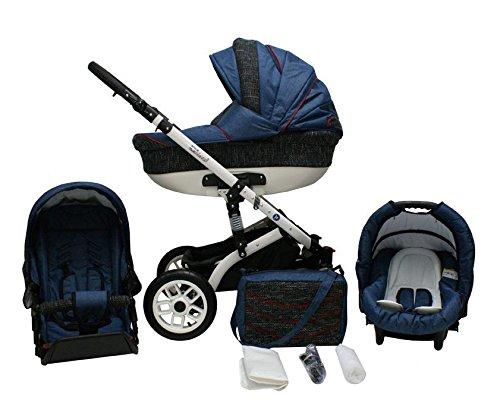 Lux4Kids Star Q Kinderwagen Komplettset (Autositz & Adapter, Regenschutz, Moskitonetz, Schwenkräder) 06 Indigo & Graphit