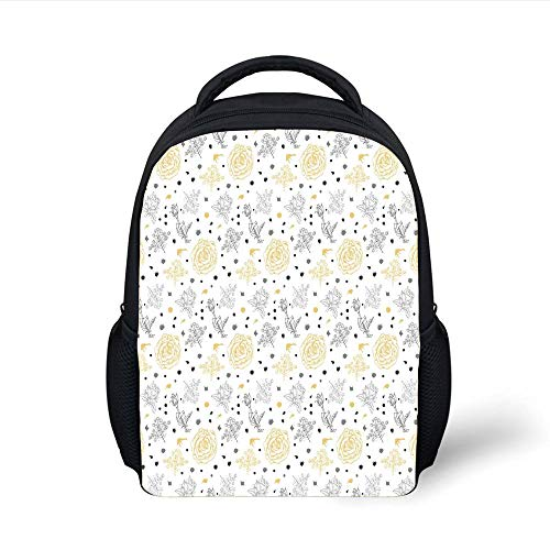Kids School Backpack Grey and Yellow,Grunge Sketchy Roses Leaves Cotton Flowers with Dots Image,Light Grey Black and White Plain Bookbag Travel Daypack (White Christmas Lights Bulk)
