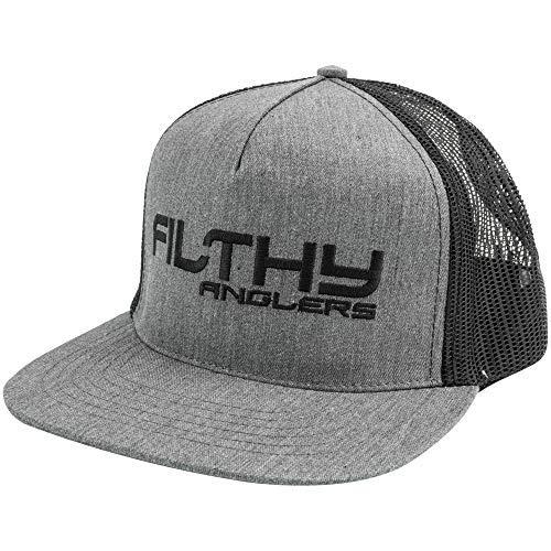 Filthy Anglers Trucker Hut mit Flacher Krempe, zum Anklippen, Verschiedene Optionen und Designs, Herren, grau/schwarz, Einheitsgröße