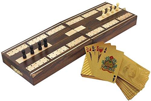 Tavola di legno gioco - tavole cribbage e dorati carte da gioco sul ponte di dollari - 12,9 x 4,0 centimetri 8.1x