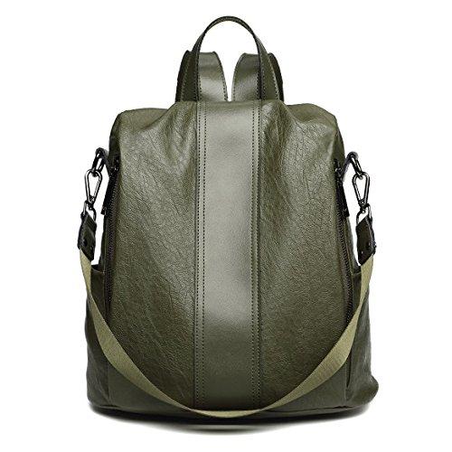 HGDR Damen Rucksack Echte Kuh Leder Rucksack Für Damen Mädchen Casual Daypack Schule Rucksäcke Reisetasche,Green-31*14*34cm