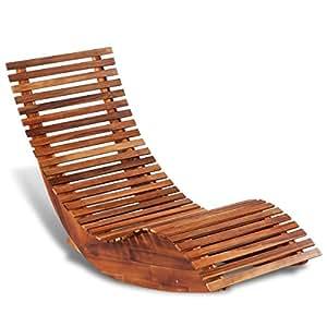Vidaxl sedia a sdraio dondolo legno di acacia for Sdraio a dondolo amazon