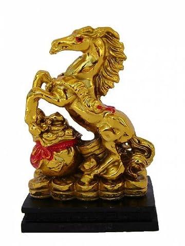 Feng Shui Import Doré Cheval Statue pas japonais sur Argent Sac