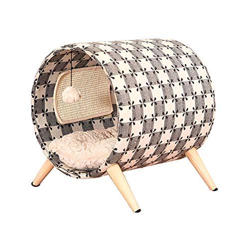 LXHONG Kratzbaum Massivholz Vierbeinstütze Stabil Abnehmbares Sisal Pad Besorgen Sie Sich EIN Brett Schleifklaue Haustier Spielzeug (Color : Beige, Size : 45X40X47CM) -
