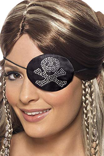 Augenklappe Kostüm - Smiffys Damen Piraten Augenklappe, Strassstein Totenkopf Motiv, One Size, Schwarz, 31955