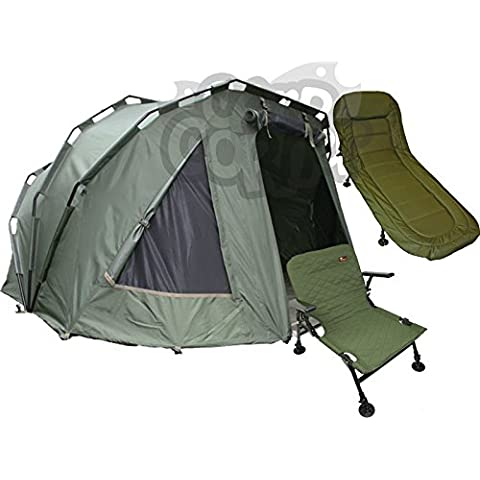 Carp Fishing Tackle 2 Man NGT Fortress Bivvy + Light Chair + 6 Leg Bed Chair Made By NGT by NGT