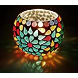 Merarki Handmade Multicolor Tea Light Candle Holder With Flower Engravings In Mosaic Style | Diya For Home Decoration - Pack Of One
