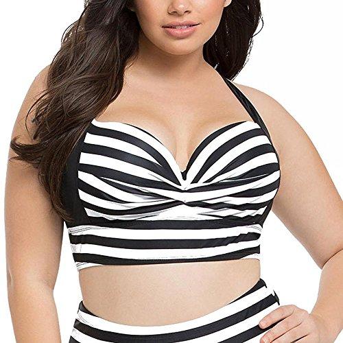Badeanzug Damen Split Badeanzug Strand Mode Druck groß Größe Bikini Split Badeanzug Black White
