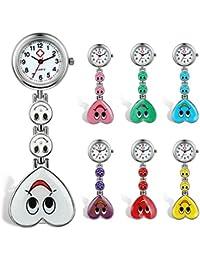 Lancardo orologio dell'infermiera medico colore della caramella sorriso faccia cuore, Risvolto tasca fibbia dell'orologio, 7 pezzi