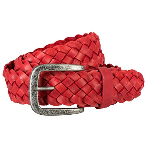 The Art of Belt by LINDENMANN Mens Leather Belt/Mens belt, braided leather belt, red