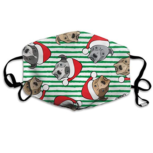 All The Pit Bulls Santa Hats Christmas Dog (Green Stripes) Dust Mask Anti Dust Pollution Mask Washable Polyester Mouth Mask with Adjustable Straps -