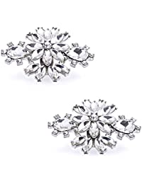 ElegantPark AK Sparking Crystals Shoes Decoration Wedding Party Double Silver Shoe Clips 2 Pcs