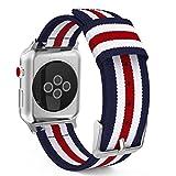 MoKo Armband für Apple Watch Series 3 / 2 / 1 38mm, Nylon Strick Replacement Uhrenarmband Sportarmband band Erstatzband mit Schließe für Apple Watch Nike+ 38mm 2017, Blau/Rot/Weiß
