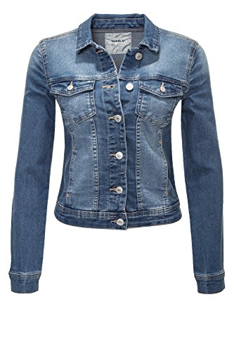 ONLY Damen Jeansjacke Übergangsjacke Leichte Jacke Denim Casual (XL, Medium Blue Denim