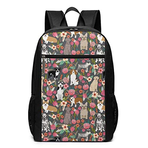 Cool Dogs Florals Large College School Backpack,Business Computer Backpacks Bag Fit 17 Inch Laptops (Rolling Rucksack Floral)