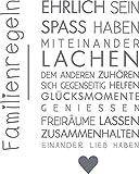 GRAZDesign 300126_57_WT071 Wandtattoo Familie -Familienregeln   in vielen Farben   lustige Wand-Sprüche für Dein Zuhause   Selbstklebende Wand-Folie (72x57cm//071 grau)