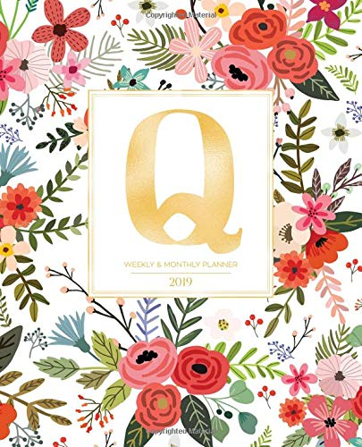 "Weekly & Monthly Planner 2019: White Florals with Red and Colorful Flowers and Gold Monogram Letter Q (7.5 x 9.25"") Horizontal AT A GLANCE Personalized Planner for Women Moms Girls and School por Pretty Planners 2019"