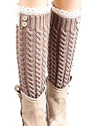 Fulltime® Hiver Laine chaud Dentelle de femmes en tricot Jambières Bottes Chaussettes