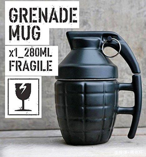 Ailiebhaus Nouveauté Grenade Tasse en Céramique avec Couvercle à thé Café Drôle Cadeau Noir