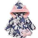 Manteau à capuche Fille Hiver Chaud Ultra Épais Doudoune Fille Longra Bébé Vêtements d'extérieur Chat Imprimé Parka Enfant Vetement pour Bebe Habits Bébé Mode Bébé Pas cher (12-24M, Rose)