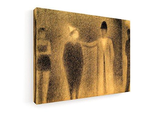 Georges Seurat, Clown und drei Figuren (Studie) - 40x30 cm - Leinwandbild auf Keilrahmen - Wand-Bild - Kunst, Gemälde, Foto, Bild auf Leinwand - Alte Meister / (Zirkus Männliche Kostüme)