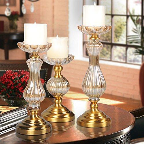 Europäische romantische Kristall Glas Kerze Hotel-Modell Messing Kerzenständer Tischdekoration--A-klein - Messing-glas Kerze