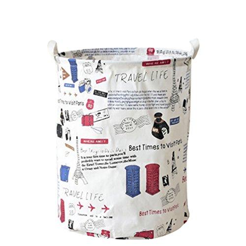 YOUJIA Grande Pliable Panier à Linge Boite Rangement en Tissu Organisateur pour Vetement sale Sac pour Stockage de Jouets (Tower, 35*45 cm)
