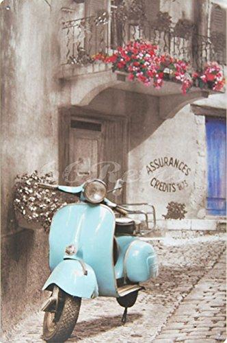 Cielo Blu Piaggio Vespa Scooter, in latta, stile Vintage in Metallo da Parete Ornament Decor, dimensioni 20,3x 30,5cm