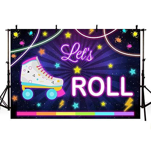 Mehofoto Let's Roll Geburtstags-Fotostudio, Hintergrund Rollschuhen, für Mädchen, Neonfarben, Regenbogenfarben, Party-Dekorationen, Banner Hintergründe für Fotografie, 17,8 x 1,5 m