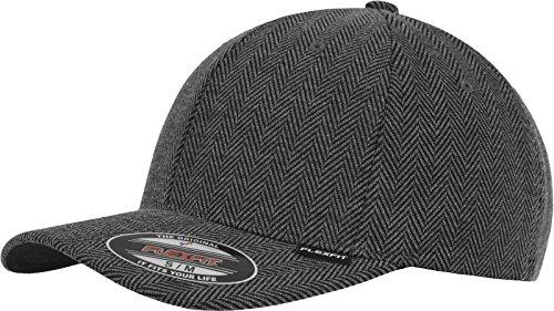 Flexfit Herren Mütze Herringbone Melange (schwarz/grau) - Baseball Cap in S/M oder L/XL