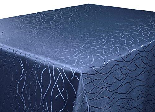 Tischdecke dunkel blau 130x160 cm eckig in glanzvoller Streifenoptik, eckig - Größe, Farbe & Form wählbar (Rund Eckig Oval) (Blauer Stoff Tischdecke)