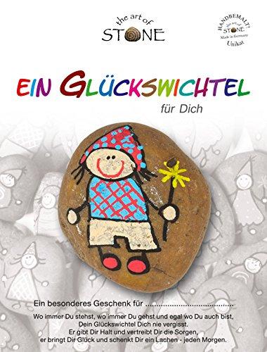 The Art of Stone Glückswichtel Stein Für Dich in RotBeigeBlaut mit RautenBlume, individualisierbarer Glücksstein, von Hand bemalt -