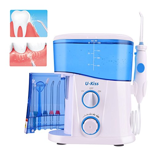 U-kiss Elektrische Munddusche Water Flosser Oral Wasserreiniger Professionell Wasserdicht Zahnpflege Zahnreinigung Wasserstrahl für Familie Haushaltnutzen mit 7 Düsen