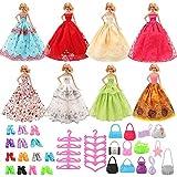 Miunana 7 Belles Robes de Livraison Aléatoire + 10 Chaussures + 10 Cintres +10 Sac à Main pour La Poupée Barbie
