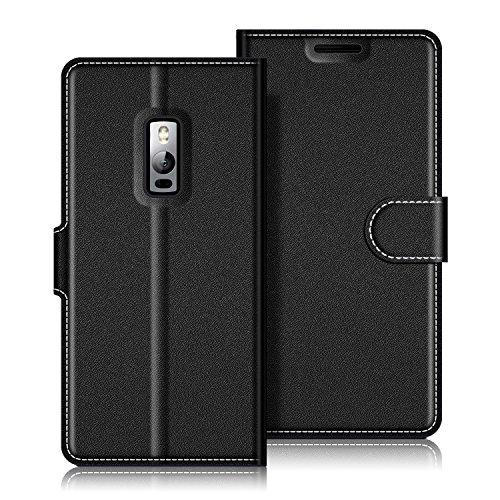 Coodio OnePlus 2 Hülle Leder Lederhülle Ledertasche Wallet Handyhülle Tasche Schutzhülle mit Magnetverschluss / Kartenfächer für OnePlus 2, Schwarz