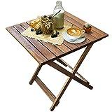 Rustikaler Beistelltisch aus Holz | Ideal für Balkon und Camping | Klapptisch platzsparend und Klein | Akazienholz Braun 50x50x50 cm Vergleich