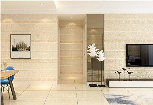 Ayzr Einfache Horizontale Gestreifte Vliesstoff Wallpaper 3D Schlafzimmer Wohnzimmer Hintergrundbild, Gelb (Horizontale Wallpaper)