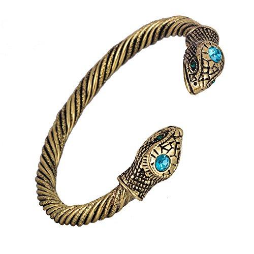 Skyrim Jormungandr Bracciale vintage con serpente, stile indiano, per uomo e donna e Lega, colore: In ottone anticato.