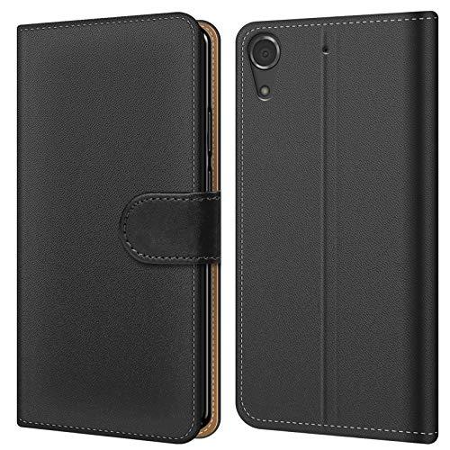 Conie BW5767 Basic Wallet Kompatibel mit HTC Desire 728G, Booklet PU Leder Hülle Tasche mit Kartenfächer und Aufstellfunktion für Desire 728G Case Schwarz