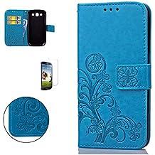 CaseHome Samsung Galaxy S3 Mini Wallet Funda,En Relieve Carcasa PU Leather Cuero Suave Impresión Cover Con Flip Case TPU Gel Silicona,Cierre Magnético,Función De Soporte,Billetera Con Tapa Libro Tarjetas Para Estilo Del Libro Estuche Del Protector Para Samsung Galaxy S3 Mini-Azul