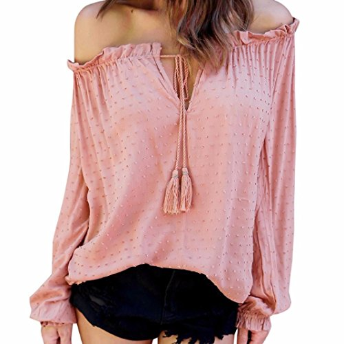 Sunnywill Damen Blusen Pullover Streetwear Off Shoulder Top Casual Strapless Blouse Dots Shirt (Pink, XL) (Dot Top Tunika Print)