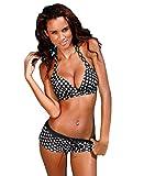 YiJee Damen Badeanzüge mit Shorts Bikini Set Neckholder Triangel Bademode Punkte Push Up Badeanzug Schwarz M