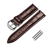 omyzam Watch Strap Genuine Calf Leather Replacement Watch Band Fit for Traditional Watch, Sports Watch or Smart Watch 22mm Brown