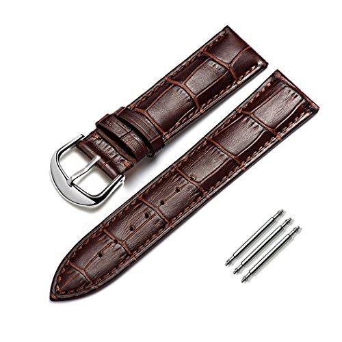 omyzam Armband Echtes Kalbsleder Ersatz Uhrenarmbänder Mode Uhrenarmband Passend für Traditionelle Uhr, Sportuhr oder Smart Watch 22mm Braun (Herren Leder Uhrenarmband 22mm)