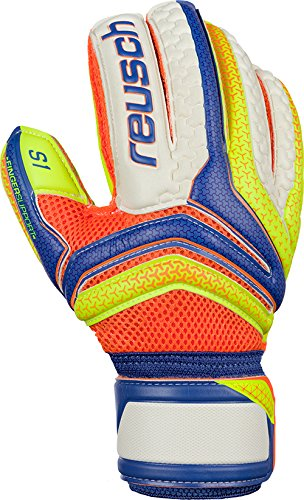 Reusch Herren Serathor Prime S1 Finger Support Torwarthandschuhe, Dazzling blu Yello/Safet, 9.5