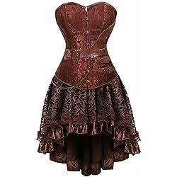 aizen Moda Cuero Corsé Vestidos Falda Corpiño Top Gothic Steampunk Estructura Corset Mujer Sexy Talla Grande Marrón XL