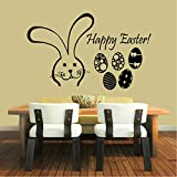 Hwhz 38X60 cm Happy Easter Eggs Sticker Wall Decals Home Decorative Rabbits Design Wall Stickers for Kitchen Wall Decor