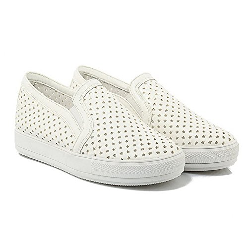 AgooLar Damen Rein Ziehen Auf Rund Zehe Pumps Schuhe Weiß